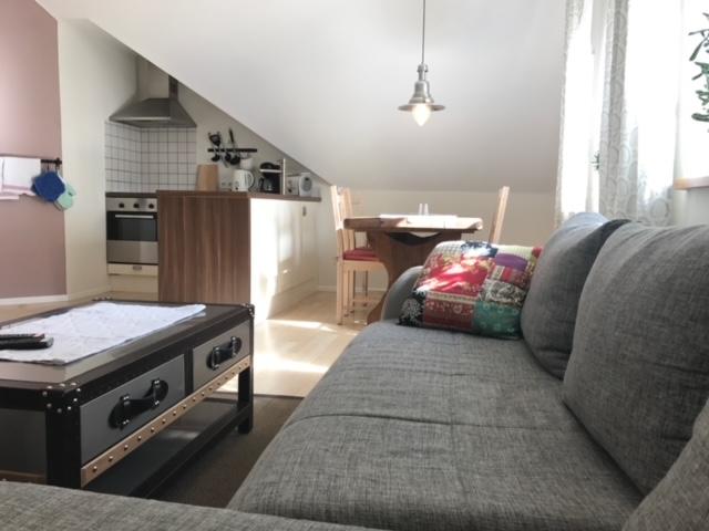 Blick durch die Ferienwohnung mit Wohn-,Ess- und Küchenbereich